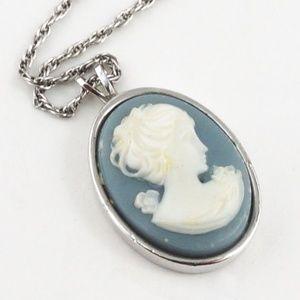 VINTAGE Crown Trifari Cameo Necklace Silver Chain